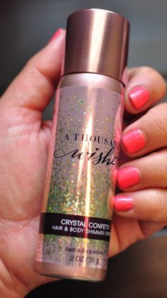 LOVE this sweet smelling glitter!!!! Bath & Body Works Crystal Confetti Hair and Body Shimmer Spray in A Thousand Wishes