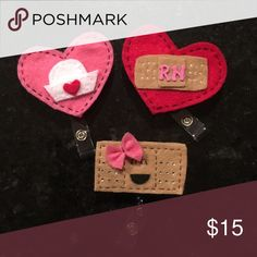 Handmade felt retractable ID clips. Brand New ID clips Accessories Key & Card Holders