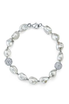 """Radiance Pearl 7.5"""" 9mm White Freshwater Baroque Pearl and Crystal Bracelet - Beyond the Rack"""