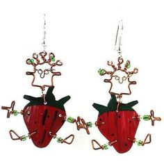 This handmade novelty pair of dancing girl earrings features a playful strawberry design made from recycled tin can and copper wire, accented with colorful Maasai beads. Earrings hang approximately 2 inches.Meet the Artisans Cr. Handcrafted Jewelry, Earrings Handmade, Unique Earrings, Girls Earrings, Girl Dancing, Holiday Ornaments, Great Gifts, Strawberry, Dance