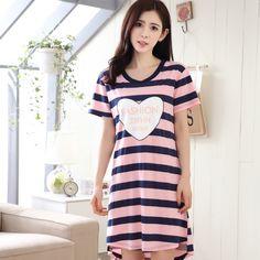 Hot Summer Women Cotton Cartoon Printing Dress Shorts Sleeve Stripe Nightgowns Cute Girl Homewear Sleepwear Nightdress Nightwear #Affiliate