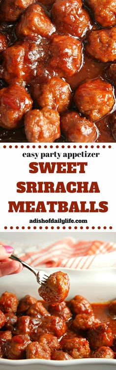 Sweet Sriracha Meatballs Looking for an easy meatball crockpot appetizer for game day? Sweet pairs with spicy in this Sweet Sriracha Meatballs recipe.the perfect addition to any party menu! You can even tone down the spiciness for a m Slow Cooker Recipes, Crockpot Recipes, Cooking Recipes, Casserole Recipes, Pasta Recipes, Soup Recipes, Vegetarian Recipes, Chicken Recipes, Vegetarian Appetizers