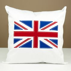 Union Jack British Flag Applique Twill Throw Pillow by LadyMaggies, $27.00