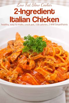 Everyone will love this super easy low fat and low carb Slow Cooker Italian Chicken. With just 2 ingredients, it's perfect when you're short of time or feeling incredibly lazy but still need to get dinner on the table! Fun Easy Recipes, Ww Recipes, Easy Meals, Cooking Recipes, Healthy Recipes, Diabetic Recipes, Low Carb Slow Cooker, Slow Cooker Recipes, Crockpot Recipes