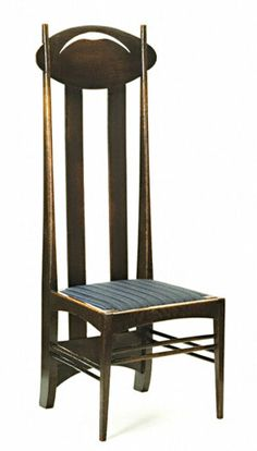 High backed chair by Charles Rennie Mackintosh. I just love his chairs.