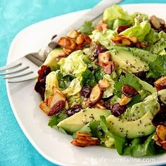 A fabulous salad fpr amu occasion. It would make a lovely ladies lunch. Cranberry-Avocado Salad with Candied Spiced Almonds and Sweet White Balsamic Vinaigrette