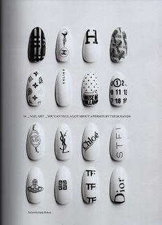 designer black and white almond shaped nails