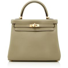 Heritage Auctions Special Collections     Hermes 25cm Retourne Kelly (€21.490) ❤ liked on Polyvore featuring bags, handbags, green, brown leather purse, green leather handbag, real leather handbags, genuine leather handbags and leather purses