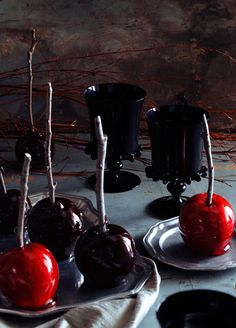 Black candied apples for Halloween. Sweet!