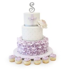 Spring brings more colors, sweets and celebrations at Pink Cake Box! Here's a lavender first communion cake with ruffles, quilting and coordinated cupcakes