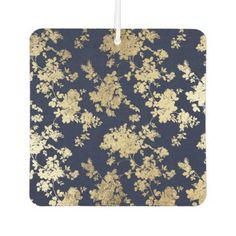 Vintage bohemian navy blue faux gold chic floral car air freshener - glam gifts unique diy special glamour