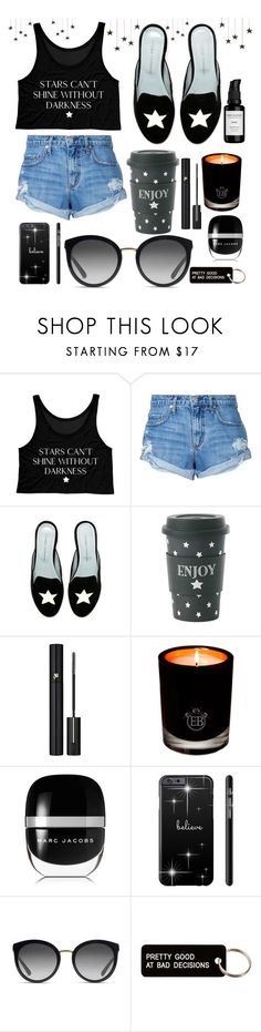 """""""Light in the Dark shining through💫🌟"""" by lyndsey-eve-wampler ❤ liked on Polyvore featuring Nobody Denim, Miss Étoile, Lancôme, EB Florals, Marc Jacobs, Dolce&Gabbana, Various Projects and Root Science"""