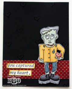 """Texana Designs sample by DTM Megan Bickers using our Texana Designs Franky (artwork by Jillian O'Diorne) , tiny hearts and """"You capture my heart"""" stamps."""