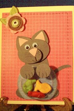 Stampin' Up!  Punch Art  Diane Klieger  Naughty Cat ~ Love the little fish bowl!