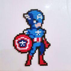 Captain America perler beads by sminkle