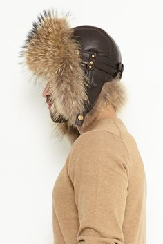 Fur hat for men made from natural lamb leather and natural raccoon/fox fur. Winter Hats, Fall Winter, Hat For Man, Fox Fur, Coats For Women, Black And Brown, Fur Coat, Natural, Leather