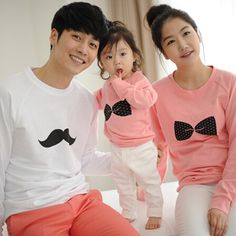 Family Matching Shirts Matching Mother Daughter Clothes Cotton Bows Printing For Father Son  Full-Sleeve Fashion Shirts