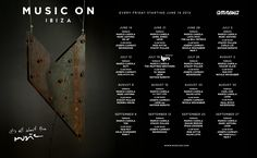 Line-up for Marco Carola's Music ON every Friday @ Amnesia Ibiza... Joined by Carl Cox, Loco Dice, tINI, Ms. Kittin, Joseph Capriati, Stacey Pullen and maaaany more.