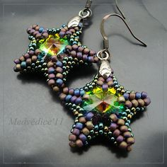 gorgeous sea star earrings with Swarowski rivoli - made by medvedice (based on desing from setapouch)  #beadwork