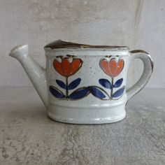 Vintage Ceramic Watering Can Planter. Made in Japan 1970s