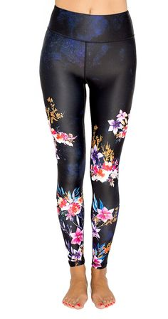 "Floral Seduction Leggings -  Get ready to be seduced by these gorgeous leggings.    •Non sheer performance legging •10"" Rise holds everything in •Moisture Wicking •Custom original artwork •Inseam approx 27.5"" (unstretched) •82% Polyester, 18% Elastane •SI Exclusive  www.silvericing.com/lifestylist"