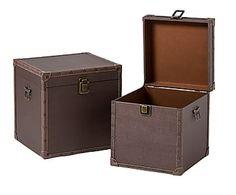 Set de 2 baúles en madera y polipiel, cuadrado - chocolate