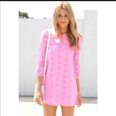 Sabo Skirt Pink Eyelet Dress With Collar