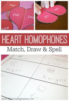 Learning Center: Homophones are a great way to help kids understand that the meaning of words influences the spelling of words. Pick up a FREE Heart Homophones Pack, too! Teaching Activities, Teaching Reading, Teaching Ideas, Guided Reading, Teaching Tools, Kindergarten Learning, Reading Lessons, Reading Resources, Esl