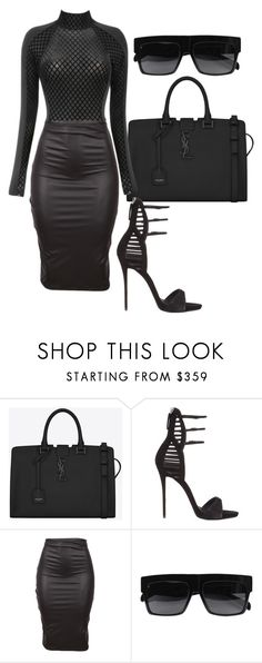 """""""Untitled #380"""" by milly-oro ❤ liked on Polyvore featuring Yves Saint Laurent, Giuseppe Zanotti and CÉLINE www.puddycatshoes.com"""
