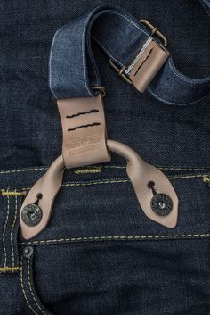 My new handmade braces made from natural tanned leather and handmade selvedge denim straps. More details at: https://www.facebook.com/Dukean...