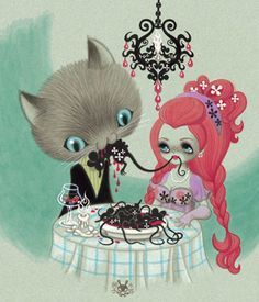 """Cats do """"Lady and the Tramp"""" style dinners a little differently. Junko Mizuno <3"""