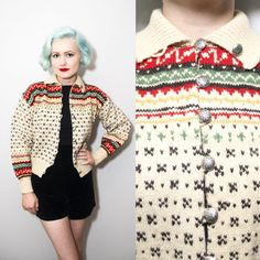 Vintage 1950's / 1960's Norwegian Patterned Wool Knit Collared Cardigan…