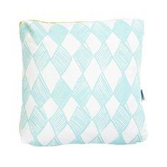 Gold & Aqua Diamond Cushion | Lumiere Art + Co.