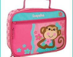 Personalized Monkey Girl, Lunchbox, School, Lunch Sac, Personalized Lunchbox, Kids Lunchbox, Lunch Box, Lunch Pal, by breezyoaksdesigns. Explore more products on http://breezyoaksdesigns.etsy.com
