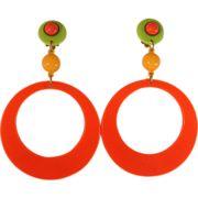 Funky Large Hoop Citrus Colored Mod Earrings