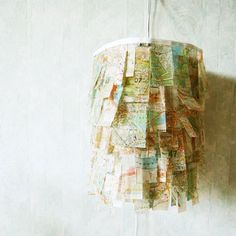 DIY Map Pendant Lamp!!!!!  Could do with books, music, student papers/drawings, etc.....