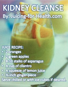Kidneys Detox Drink — Juicing For Health - this website has tons of searchable juice recipes, accessible by ingredients or by prognosis