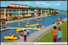 butlin's skegness - boating lake & monorail postcard, uk, 60s