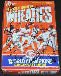 I do not know why but Chris Sabo was my favorite from this team.  AAA Sports Memorabilia LLC - 1990 World Champions Cincinnati Reds TEAM Autographed Wheaties Box by Coach Lou Pinella, Barry Larkin, Paul O'Neill, Eric Davis, Chris Sabo, and 15 more players, $479.95 (http://www.aaasportsmemorabilia.com/mlb/autographed-misc/1990-world-champions-cincinnati-reds-team-autographed-wheaties-box-by-coach-lou-pinella-barry-larkin-paul-oneill-eric-davis-chris-sabo-and-15-more-players/)