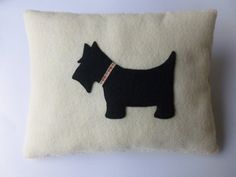 Handmade Felt Scotty Dog Mini Pillow  Antique by SewJuneJones, £10.00