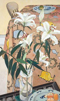 Sotheby's Australia Important Australian Art - Cressida Campbell 'Lillies with Indian Cloth' 1994 woodblock Art And Illustration, Illustrations, Kunst Inspo, Art Inspo, Art Floral, Contemporary Australian Artists, Social Art, Still Life Art, Paintings I Love