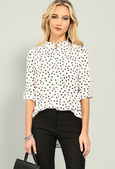 Heart Print Collarless Blouse $15.99