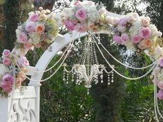 Wedding Arch And Chandelier Pearl Strands