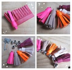 Diy collier pompon cuir Plus Diy Leather Tassel, Diy Tassel, Leather Craft, Tassels, Leather Jewelry Tutorials, Diy Collier, Contemporary Embroidery, Couture Sewing, Flower Tutorial