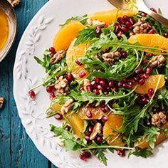 Rucola, pomegranate, oranges and walnuts salad Healthy Salad Recipes, Raw Food Recipes, Veggie Recipes, Asian Recipes, Vegetarian Recipes, Cooking Recipes, Ensalada Thai, Clean Eating, Healthy Eating