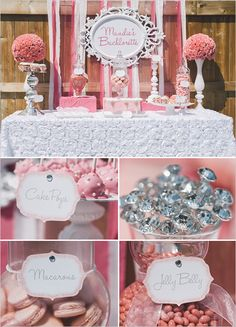 pink dessert table ideas for super cute Bachelorette Party. Get more Bachelorette party ideas http://www.weddingchicks.com/2013/08/27/sexy-bachelorette-party-ideas/