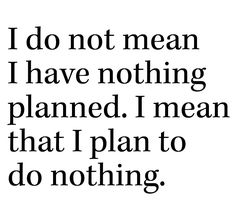 I do not mean I have nothing planned. I mean that I plan to do nothing.
