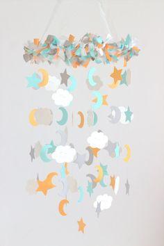Star Moon & Cloud Nursery Mobile Neutral by LovebugLullabies