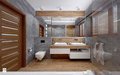 Dom szeregowy, Nefrytowa-Wrocław - Średnia duża łazienka w domu jednorodzinnym z oknem, styl nowoczesny - zdjęcie od rs