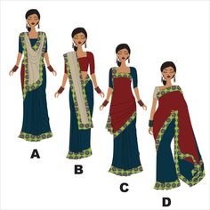 different ways to wear a Saree